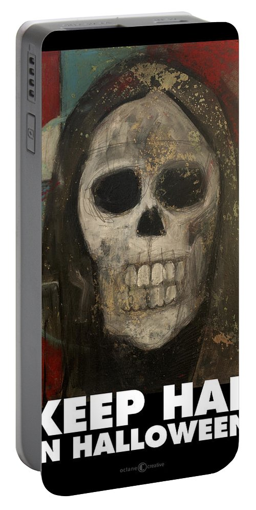 Halloween Portable Battery Charger featuring the painting Keep Hal In Halloween by Tim Nyberg
