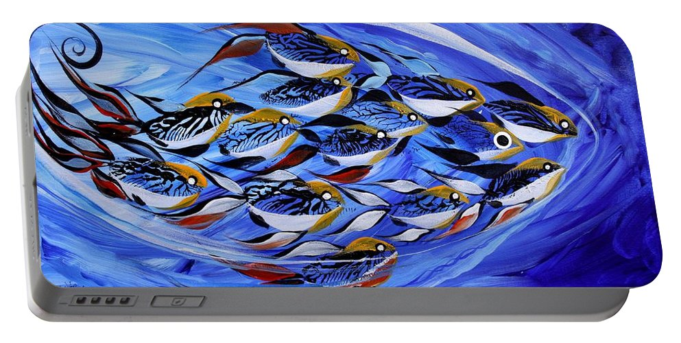 Fish Portable Battery Charger featuring the painting Keep It Together by J Vincent Scarpace