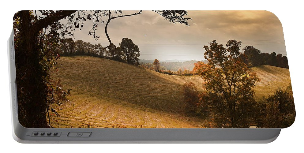 Hayfields Of Kentucky Portable Battery Charger featuring the photograph Kentucky Type Hayfields by Randall Branham