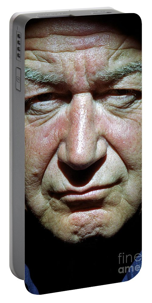 Kevin Portrait Intense higher Power Person Songle Man Close-up Face Character Charisma London Aa Portable Battery Charger featuring the photograph Kevin by Neil Pollick
