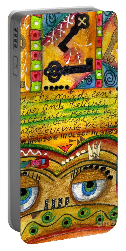 Greeting Cards Portable Battery Charger featuring the mixed media King Of Keys by Angela L Walker
