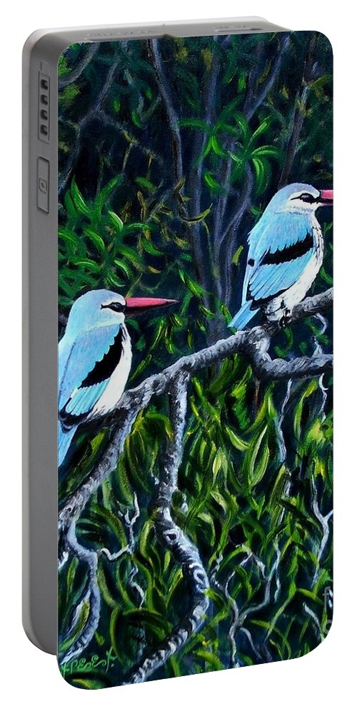 Birds Portable Battery Charger featuring the painting Woodland Kingfisher by Caroline Street