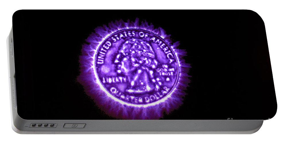 Electrophotography Portable Battery Charger featuring the photograph Kirlian Photograph Of An U.s. Quarter by Ted Kinsman