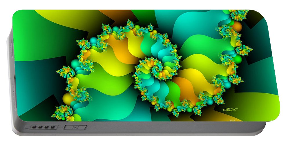 Fractal Portable Battery Charger featuring the digital art Kitchen Garden by Jutta Maria Pusl