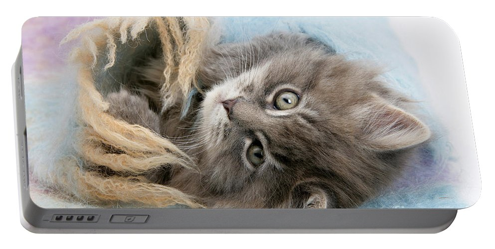 Animal Portable Battery Charger featuring the photograph Kitten In Blanket by Mark Taylor