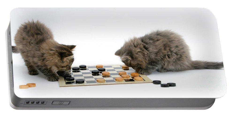 Animal Portable Battery Charger featuring the photograph Kittens Playing Checkers by Mark Taylor