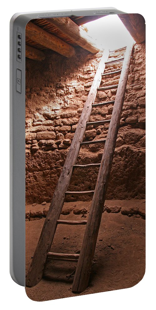 Kiva Portable Battery Charger featuring the photograph Kiva Ladder At Puye Cliffs by Elizabeth Rose