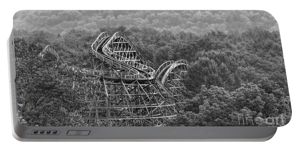 Wooden Roller Coaster Portable Battery Charger featuring the photograph Knobels Wooden Roller Coaster Black And White by Paul Ward