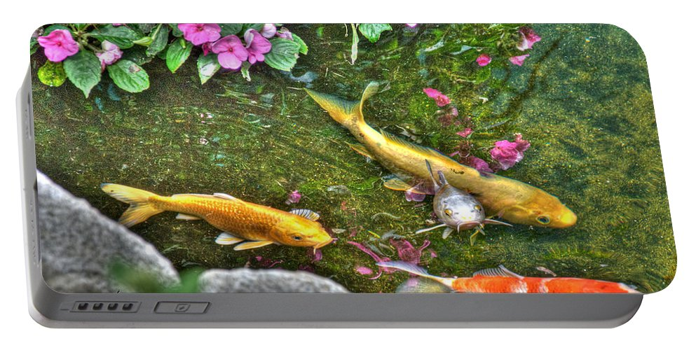 Koi Portable Battery Charger featuring the photograph Koi Fish Poses by Mark Valentine