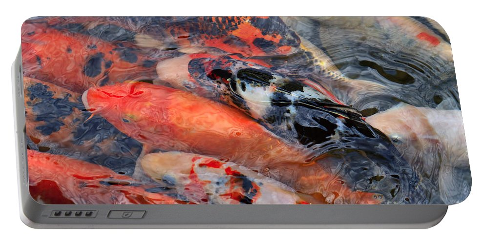 Koi Portable Battery Charger featuring the photograph Koi Pond by Louise Heusinkveld