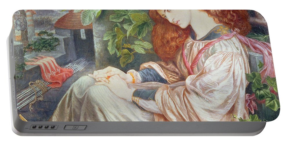 Pre-raphaelite; Woman; Female; Sundial; Crows; Prison; Imprisoned; Rosary; Jane Morris; Book; Fig Tree; Pious Portable Battery Charger featuring the painting La Pia De Tolomei by Dante Charles Gabriel Rossetti