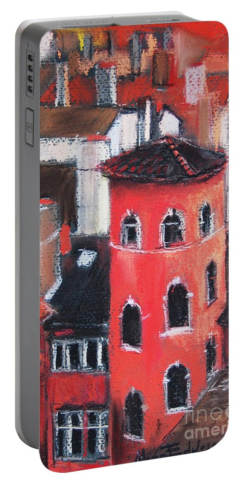 Edulesco Portable Battery Charger featuring the pastel La Tour Rose In Lyon 1 by Mona Edulesco