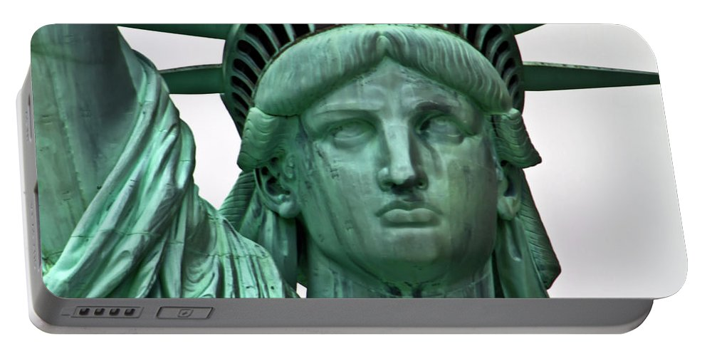 Statue Portable Battery Charger featuring the photograph Lady Liberty Up Close by Bill Lindsay