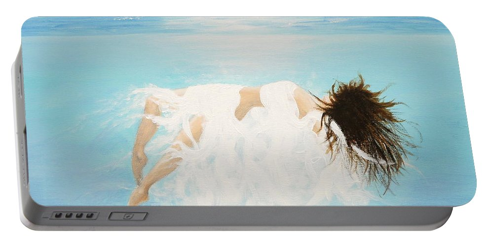 Water Portable Battery Charger featuring the painting Lady Of The Water by Kume Bryant