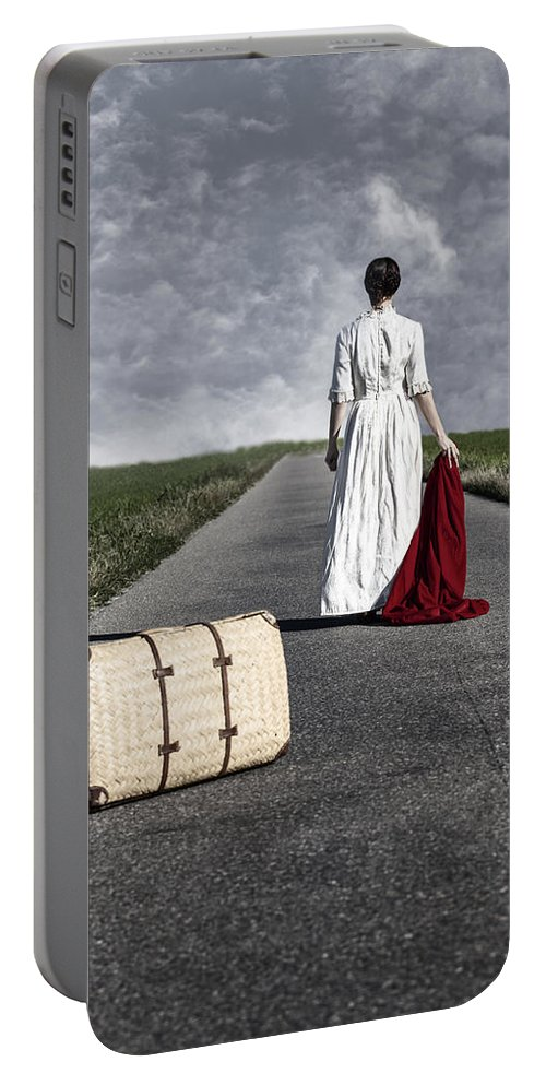 Female Portable Battery Charger featuring the photograph Lady On The Road by Joana Kruse