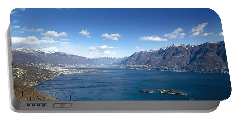 Island Portable Battery Charger featuring the photograph Lake With Islands And Snow-capped Mountain by Mats Silvan