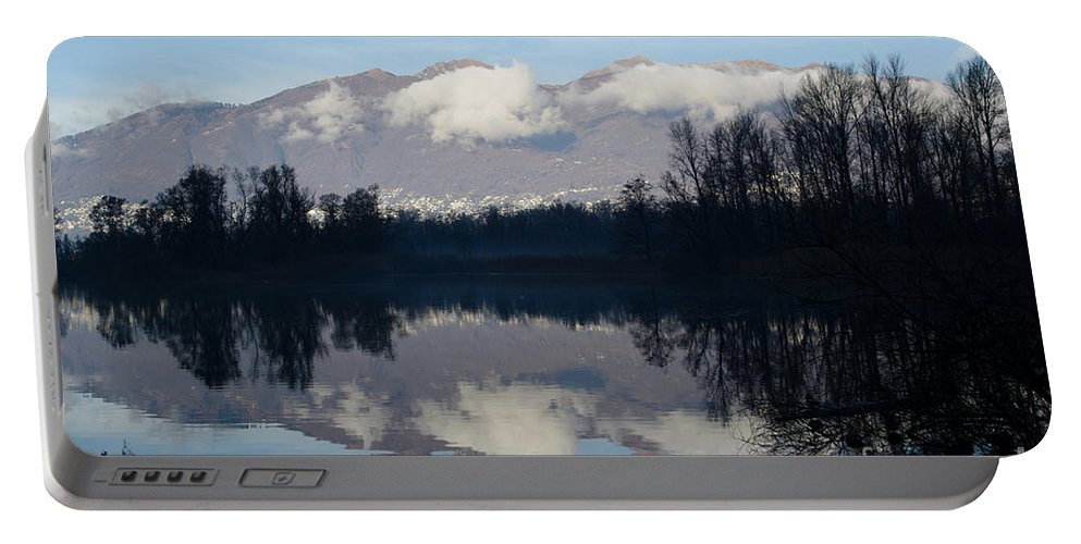 Lake Portable Battery Charger featuring the photograph Lake With Mountain by Mats Silvan