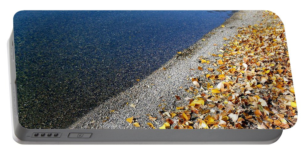 Lakeside Portable Battery Charger featuring the photograph Lakeside Diagonal Split by Will Borden