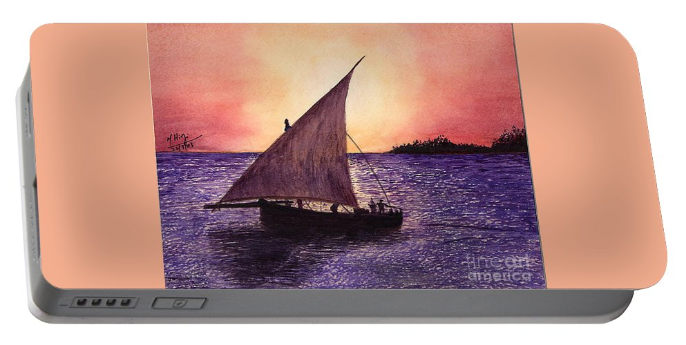 Dhow Portable Battery Charger featuring the painting Lamu Kenya by Mohamed Hirji