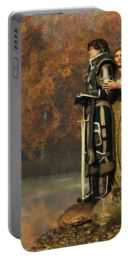 Lancelot Portable Battery Charger featuring the digital art Lancelot And Guinevere by Daniel Eskridge