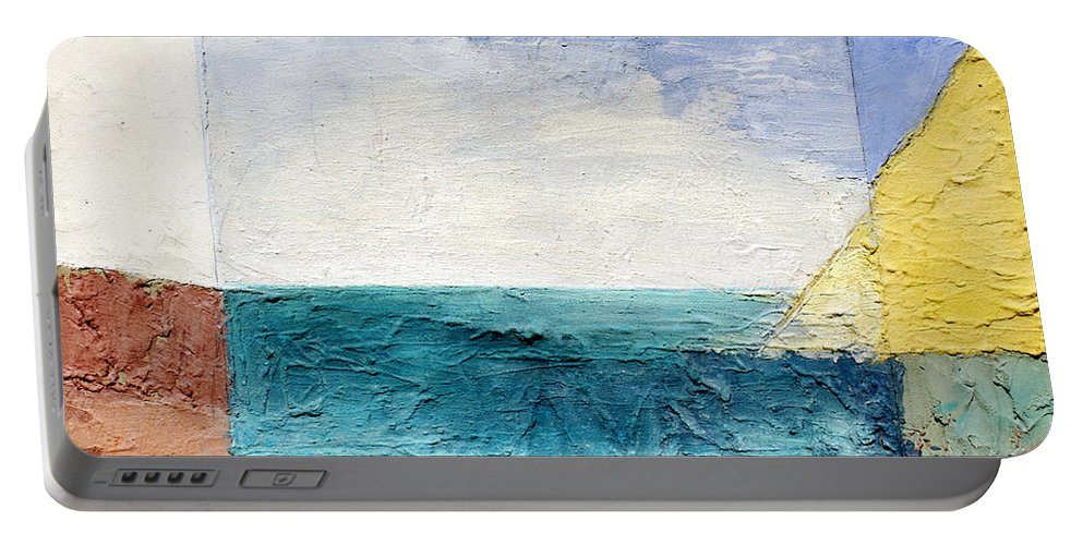 Abstract Portable Battery Charger featuring the painting Land Sea Sky by Lisa Baack