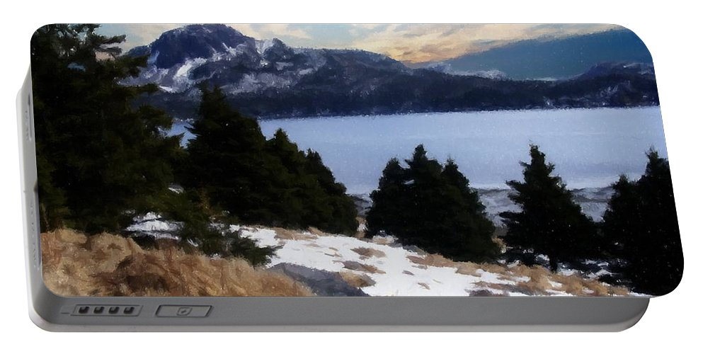 Land With A View Portable Battery Charger featuring the photograph Land With A View Painterly by Barbara Griffin