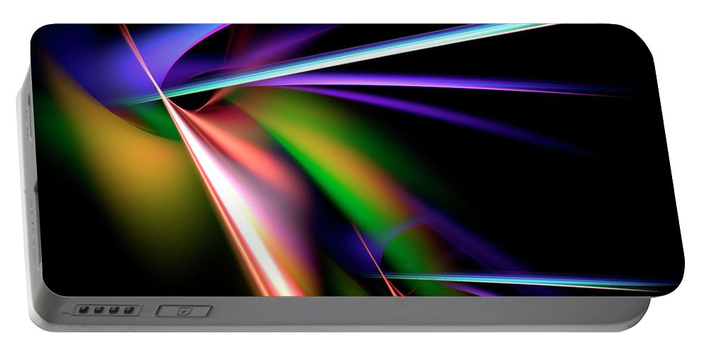Abstract Portable Battery Charger featuring the digital art Laser Light Show by Carolyn Marshall