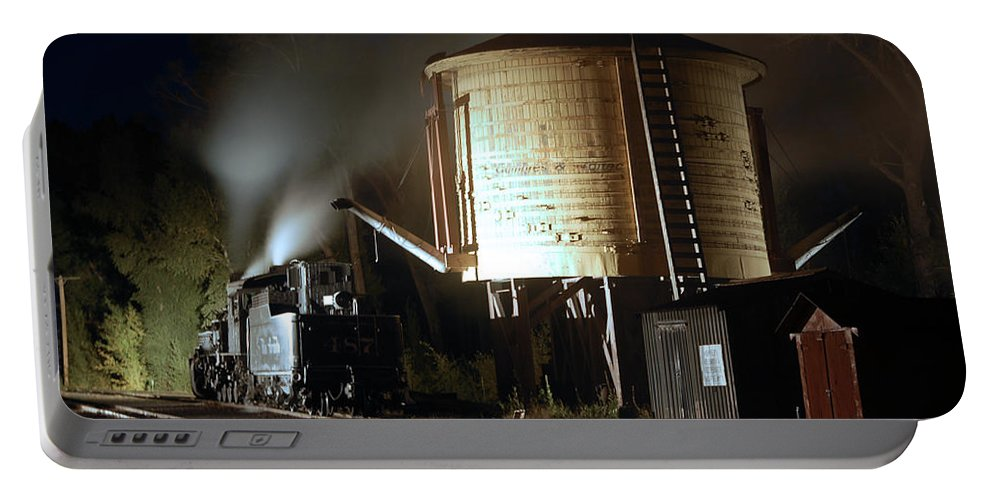 Steam Train Photographs Portable Battery Charger featuring the photograph Late Night Drink by Ken Smith