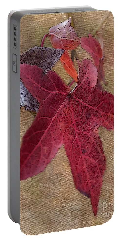 Autumn Portable Battery Charger featuring the photograph Leaf In Red by Betty LaRue