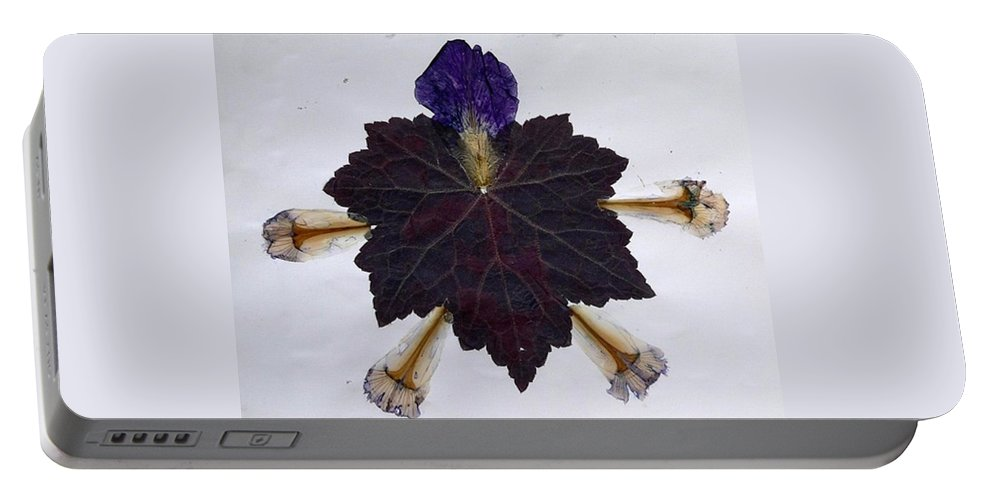 Leaf Pattern Portable Battery Charger featuring the mixed media Leaf With Petals by Basant Soni