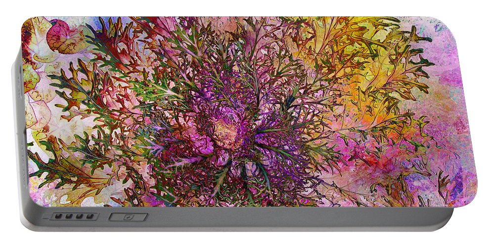 Lettuce Portable Battery Charger featuring the digital art Leafy Greens by Barbara Berney