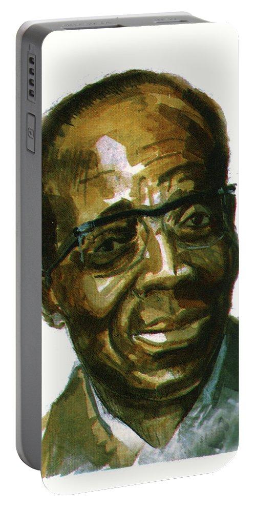 Portraits Portable Battery Charger featuring the painting Leopold Sedar Senghor by Emmanuel Baliyanga