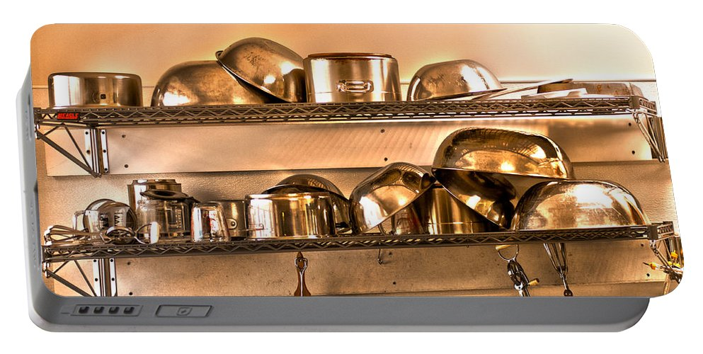 Stainless Steel Pots And Pans Portable Battery Charger featuring the photograph Lets Cook Tonight by Randall Branham