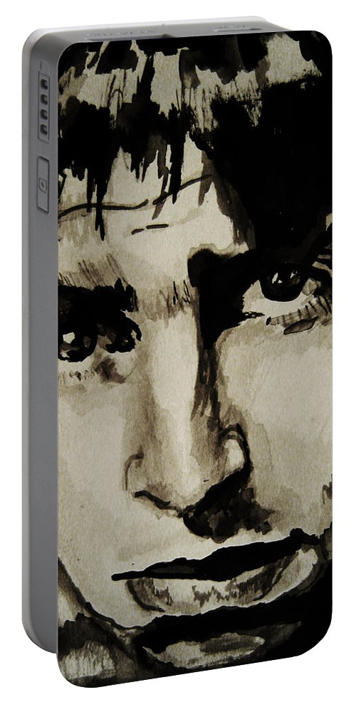 Liam Gallagher Portable Battery Charger featuring the drawing Liam by Molly Picklesimer