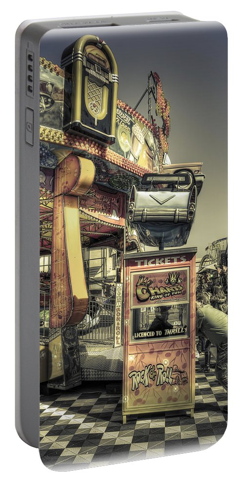 Sideshow Portable Battery Charger featuring the photograph Licenced To Thrill by Wayne Sherriff