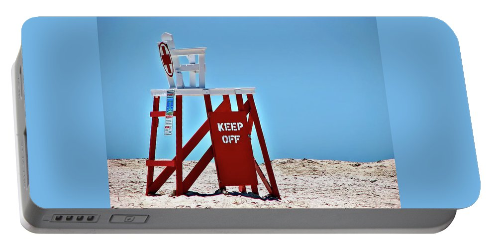 Lifeguard Portable Battery Charger featuring the photograph Life Guard Stand by Carolyn Marshall