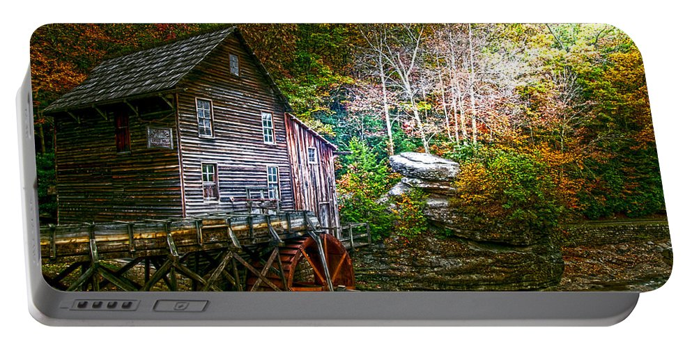 Glade Creek Mill Light On Mill Portable Battery Charger featuring the photograph Light On The Mill by Randall Branham