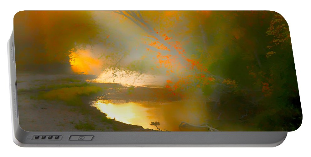 Light In Creek Portable Battery Charger featuring the photograph Light Up The Creek by Randall Branham