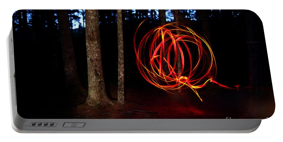 Light Portable Battery Charger featuring the photograph Light Writing In Woods by Ted Kinsman