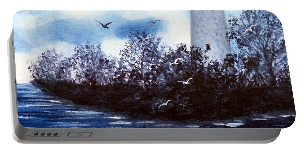 Lighthouse Portable Battery Charger featuring the painting Lighthouse Blues Painterly Style by Barbara Griffin