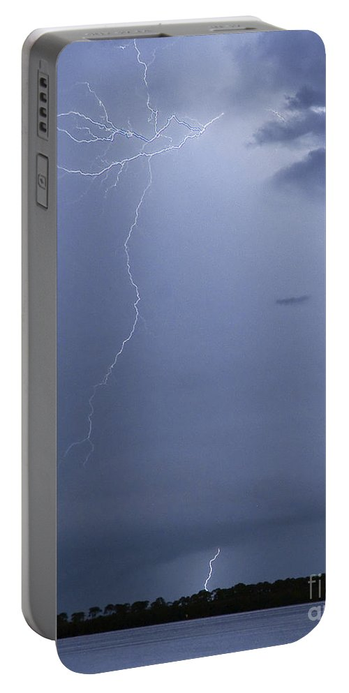 Lightning Portable Battery Charger featuring the photograph Lighting Over Caladesi Island by Stephen Whalen