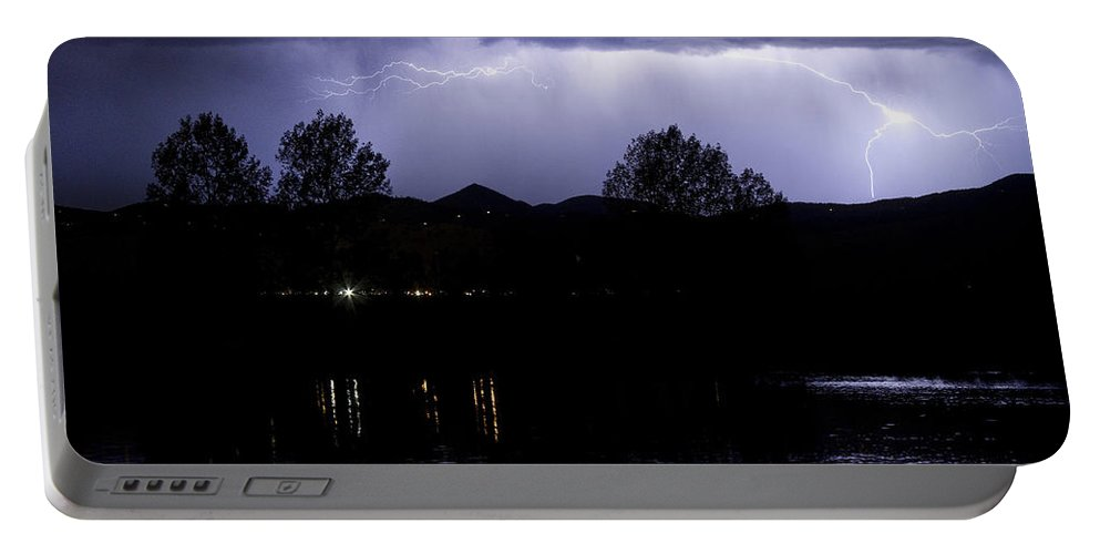 Lightning Portable Battery Charger featuring the photograph Lightning Over Coot Lake by James BO Insogna