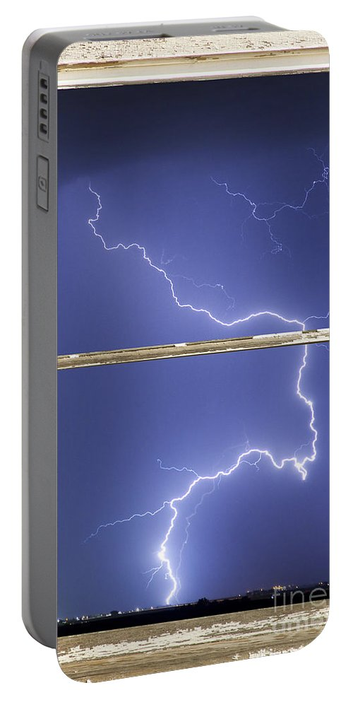 'window Frame Art' Portable Battery Charger featuring the photograph Lightning Strike White Barn Picture Window Frame Photo Art by James BO Insogna