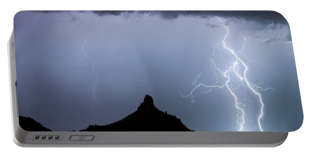 Pinnacle Peak Portable Battery Charger featuring the photograph Lightning Thunderstorm At Pinnacle Peak by James BO Insogna