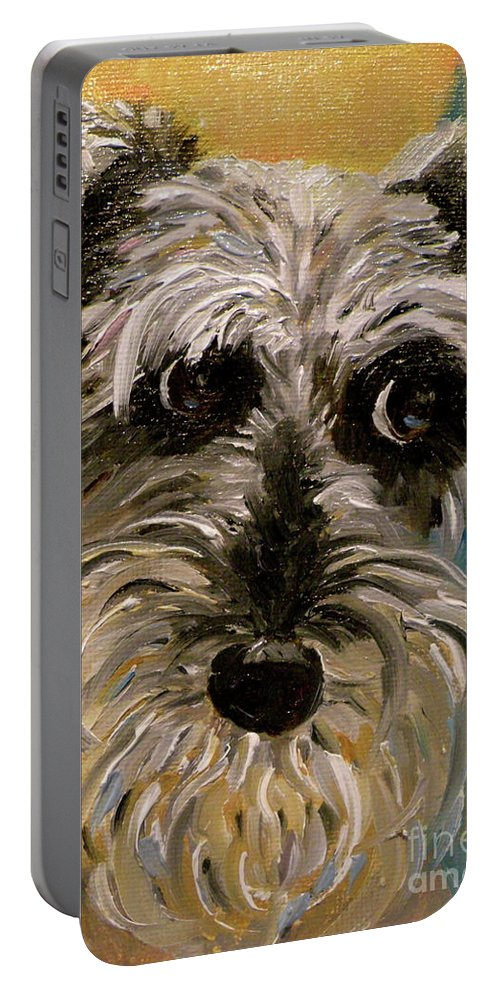 Schnauzer Portable Battery Charger featuring the painting Li'l Millie by Patsy Walton