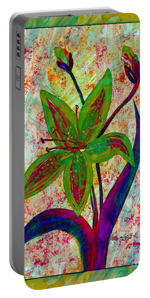 Lily Abstraction Portable Battery Charger featuring the digital art Lily Abstraction by Barbara Griffin