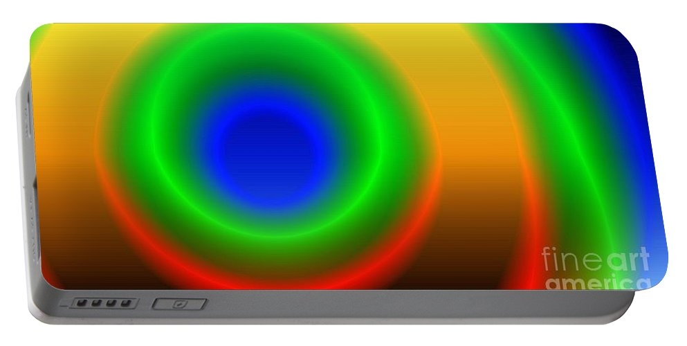 Gradient Portable Battery Charger featuring the digital art Lime Blue And Tangerine by Ron Bissett