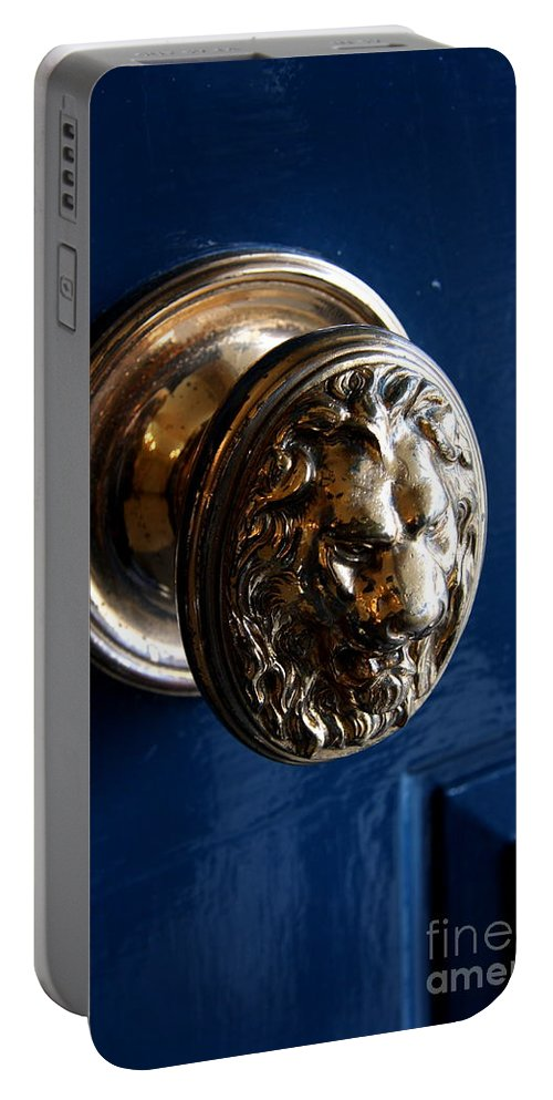 Door Portable Battery Charger featuring the photograph Lion Head Door Knob by Christiane Schulze Art And Photography