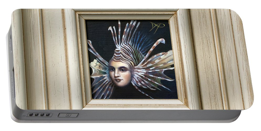 Lionfish Portable Battery Charger featuring the painting Lionessfish by Patrick Anthony Pierson