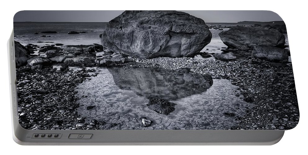 Rock Portable Battery Charger featuring the photograph Liquid State by Evelina Kremsdorf